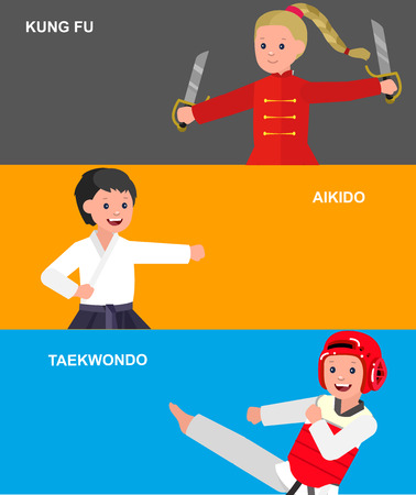 martial art: Cute vector character child. Illustration for martial art taekwondo, aikido, kung fu. Kid wearing kimono and training. Child take fighting pose