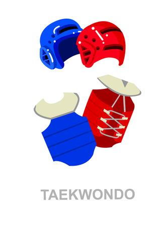 martial art: Illustration for martial art poster. Taekwondo training. Vector equipment for Taekwondo. Illustration vector Illustration