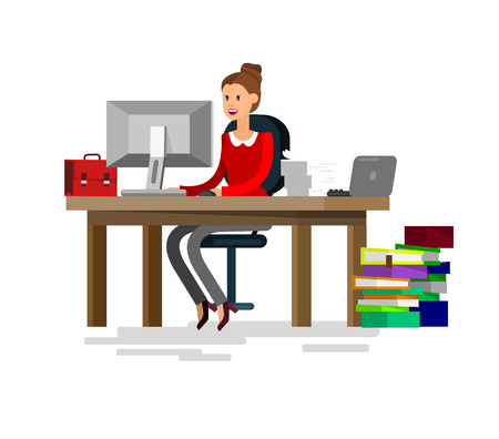 team from behind: Vector detailed character corporate business team people  sitting behind desk. Office worker. Women, cool flat  illustration. Vector business Office worker character Illustration