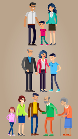 father of the bride: Detailed character people family. Stages of life of  family, young couple, first date, first baby, old parents and adult son. Vector family character. Illustration family people