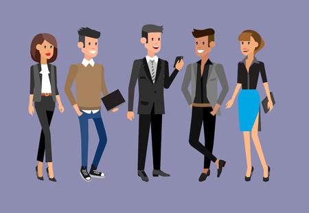 Personajes de vectores detallados personas, la gente los hombres y mujeres de negocios en la acción. Los hombres de negocios se dan la mano, con un maletín, secretaria, gran jefe, hombre de inicio, colegas, gente de negocios del estilo de vida Foto de archivo - 57331456