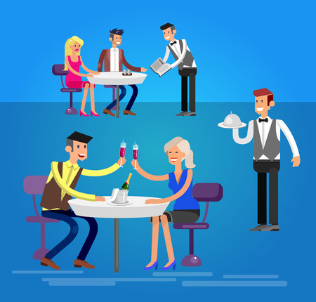 socialize: Vector detailed character people in the restaurant, canteen catering service for public and personnel restaurant, restaurant waiter serves guests. Vector restaurant illustration Illustration