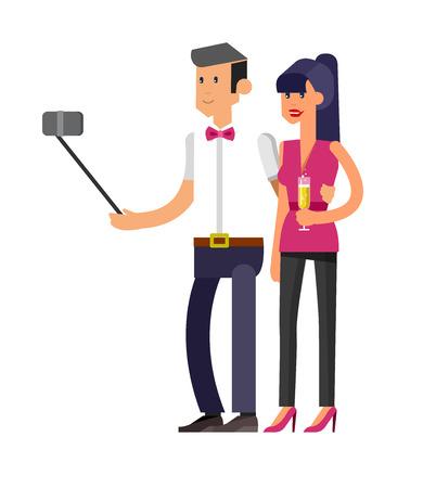 shots: Vector detailed character make Selfie. Selfie shots family and couples Selfie. Selfie shot man, make Selfie, sporty woman. Vector selfie people set, life with selfie photo camera Illustration