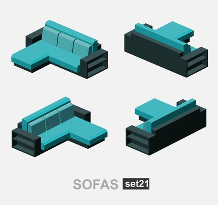 living room sofa: Set of the isolated isometric sofa. Vector sofa. Illustration sofa. Office sofa, sofa bed in living room, sofa in cafe. Colorful sofa.