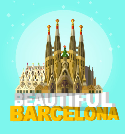 High quality, detailed most famous World landmark. Vector illustration of La Sagrada Familia - the impressive cathedral designed by Gaudi. Travel vector. Travel illustration. Travel landmarks