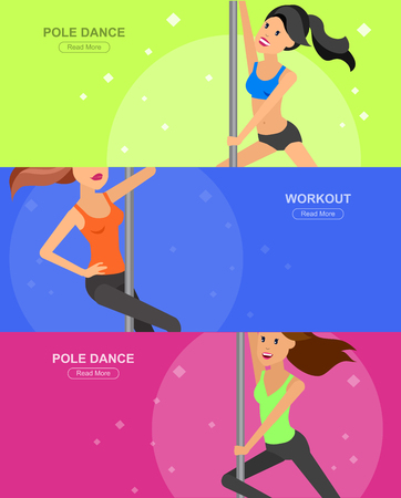 flexible sexy: Vector detailed character Fit woman dancing around the pole. Pole dance training. Happy and sporty woman. illustration. Pole dance training for sexy woman