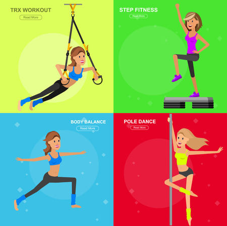 pole dance: Vector detailed character fit woman and fitness workout. Happy and sporty woman. illustration. Woman goes in for sports, training for Woman