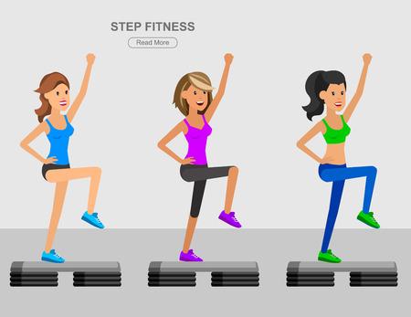 詳細なキャラクター フィット女性とステップ フィットネス トレーニングをベクトルします。ハッピー スポーティーな女性。イラスト。女性がスポ  イラスト・ベクター素材