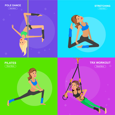 step fitness: Vector detailed character fit woman and fitness workout. Happy and sporty woman. illustration. Woman goes in for sports, training for Woman