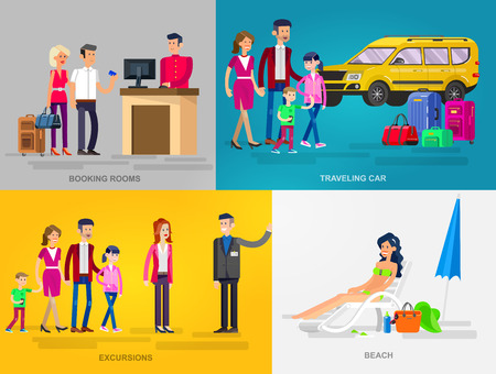 guia de turismo: Vector detalló las personas de caracteres en la acción para el recorrido. Familia de viaje de vacaciones de verano en el coche, reserva de habitaciones en el hotel, guía de excursión, mujer de relax en una playa