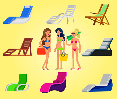 lies: beach chaise longue in different design. Detailed character woman lies in a beach chaise longue.Vector beach chaise longue set, beach chaise longue illustration. Vector beach chaise longue