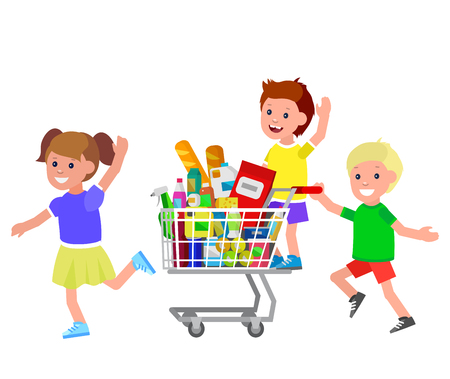 kid shopping: Concept illustration for Shop, supermarket. Vector character kid playing together, riding supermarket shopping cart. Healthy eating and eco food in supermarket shopping cart Illustration