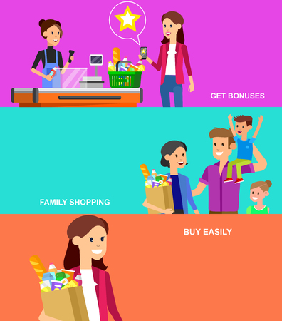 family shopping: Concept banner for Shop, supermarket. Vector character people in supermarket, cart, delivery, family shopping. Healthy eating and eco food in supermarket. Vector flat illustration for supermarket.