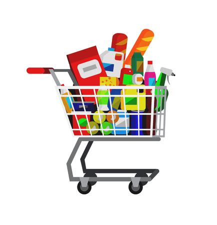 supermarket cart: Concept illustration for Shop, supermarket cart. Vector supermarket cart. Healthy eating and eco food in supermarket cart. Vector flat illustration for supermarket.