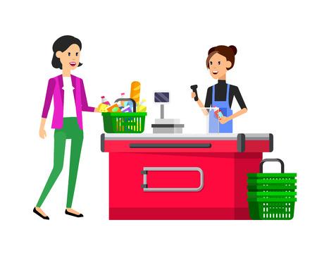 food market: Concept illustration for Shop, supermarket. Vector character woman cashier in supermarket. Healthy eating and eco food in supermarket. Vector cash register in a supermarket