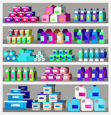 supermarket shopper: Concept illustration for Shop, supermarket. Vector supermarket shelves. Healthy eating and eco food in supermarket. Vector flat illustration for supermarket.
