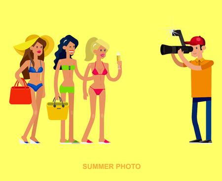 bikini model: cool detailed character Photographer with camera photographs sexy woman on the summer beach, bikini model Illustration
