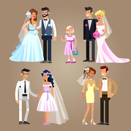 dress suit: Happy cute wedding couple. Vector wedding detailed character, wedding  beautiful  smiling bride and groom. Cool wedding flat illustration. Vector wedding