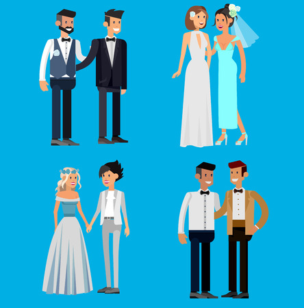 Nontraditional family. Happy cute wedding gay and lesbian homosexual couple. Cool gay wedding character flat illustration. Vector gay wedding. Gay wedding Illustration
