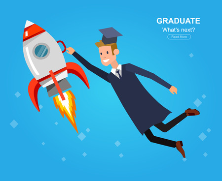 Vector character graduate and students, university students graduation. University courses, online education, exam preparation. University education banner, vector graduate, illustration graduate Ilustrace