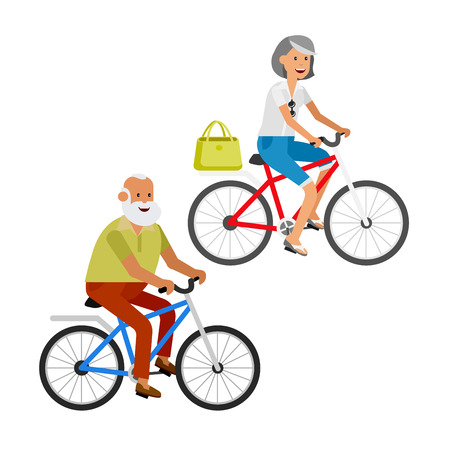 retired: vector detailed character senior, senior age travelers. Old age retired tourists couple. Elderly senior having summer vacation. Old tourists riding on a bicycle. Active senior isolated on white