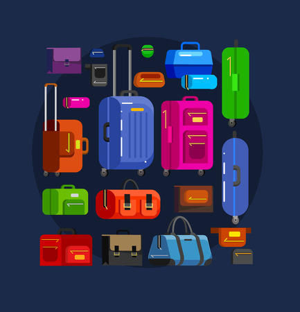 travel bag: Travel bags in various colors. Travel bags in various colors. Luggage suitcase and Travel  bag isolated on white background. Vector travel bags. Illustration bag