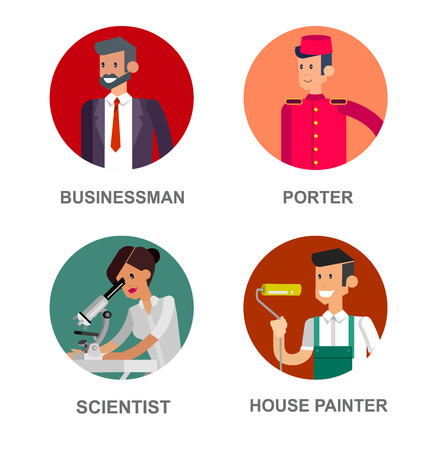 Profession people avatars. Detailed character professionals avatars. Illustration of character Profession people avatars. Vector avatars, flat avatars Profession people