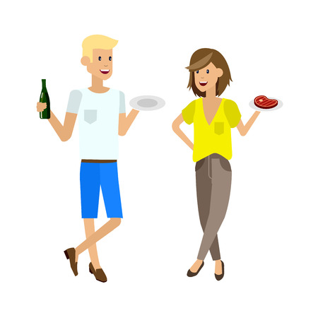friends eating: Vector character people on Family picnic or Bbq party. Food and barbeque, summer and grill. Vector barbeque party, illustration barbeque party Illustration