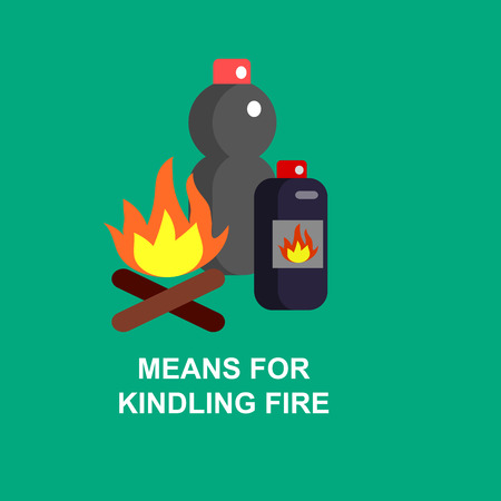 igniting: Camping and barbecue object. Camping Weekend and barbecue party and picnic icons. Hiking, barbecue and camping object. Vector means for igniting the fire