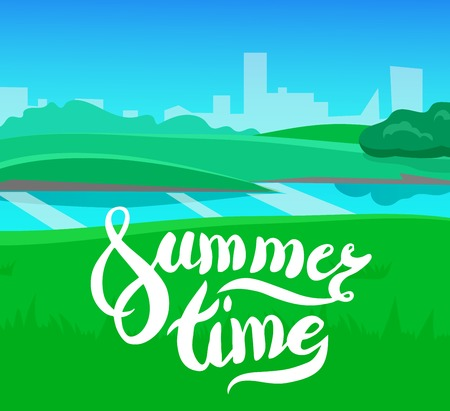 summer time: cartoon landscape with calligraphy brush lettering, summer time, vector unending background landscape with herbs and sky. Vector landscape with calligraphy brush lettering. Flat summer poster