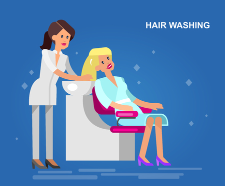 cut off head: Detailed character Barber makes a hair washing for glamorous girl, beautiful smiling blond woman. Web banner template  for beauty saloon
