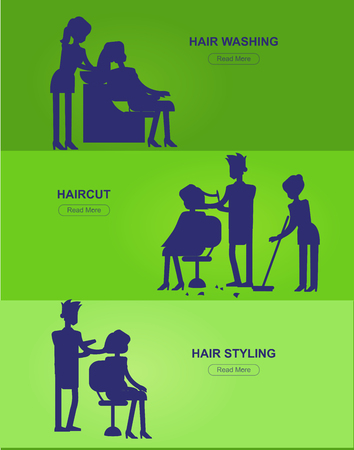woman washing hair: silhouette character Barber makes a hair washing, cut and styling for glamorous girl or woman. Web banner template  for beauty saloon