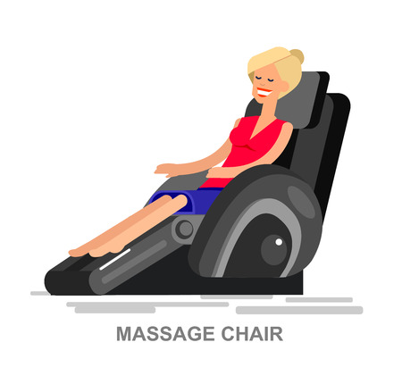 armchair shopping: Vector detailed character Woman buy massager  and relax in massage chair, cool flat  illustration isolated on white background.