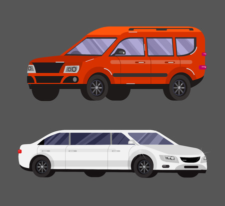 family car: Stylish flat Car. Transport car Symbols collection, limousine black and white, family car, sedan car and truck. Vector car