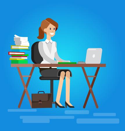 tutor: Woman teacher tutor at the desk in the classroom.  Flat teacher, style vector teacher, teacher illustration Illustration