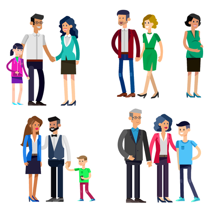 nephew: Detailed character people family, parents with kids, couple, family with children, gay family. Vector family character. Illustration family people isolated on white background