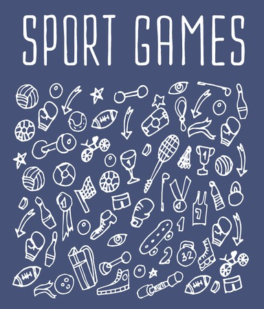 bike cover: Sport games hand drawn seamless logo. Backgrounds Sport games, wrapping, wallpapers Sport games, textile prints. Vector illustration of doodle Sport games elements Illustration