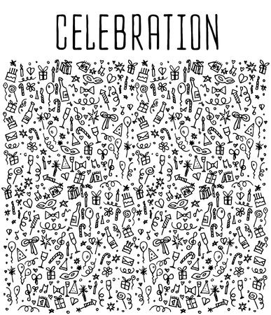 celebration background: Celebration, happy birthday doodles elements, Celebration, background. Celebration  seamless. Celebration Vector sketchy illustration Illustration