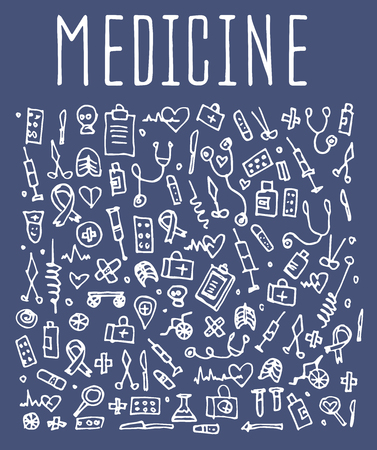 sketchy illustration: Hand drawn Medicine elements, seamless logo Medicine, Medicine doodles elements, Medicine seamless background. Medicine sketchy illustration
