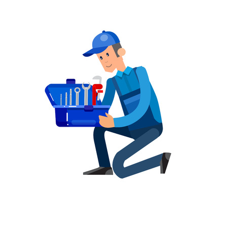 proffesional: detailed character proffesional plumber men, plumber repair professional, plumber fixing water pipes. Vector plumber set. Illustration plumber character.