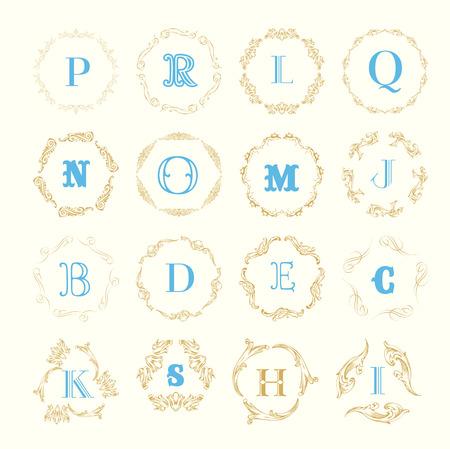 e shop: Monogram logo template with  calligraphic elegant ornament. Identity design with letter P,D,E,C,G,O for shop, store or restaurant, heraldic, barbershop or barber Illustration