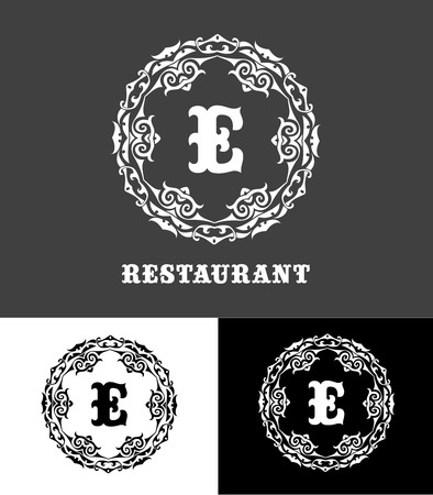 e store: Monogram logo template with  calligraphic elegant ornament. Identity design with E letter for shop, store or restaurant, heraldic, barbershop or barber, beauty salon, justic lawyer, boutique or hotel