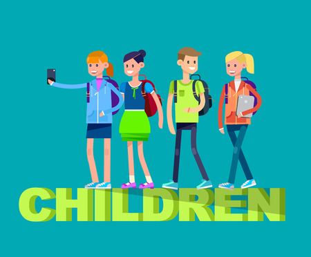 elementary: Vector detailed character flat design children students boy and girl. Schoolchildren, Kids  smiling holding Gadgets and backpacks. Primary or elementary school children