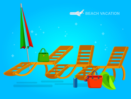 chaise longue: beach chaise longue in different design, vector set illustration isolated on background