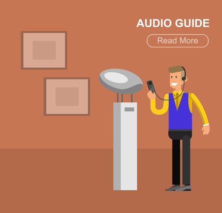 extensive: Funny character people in museum, guided tour, audioguide, flat banners set