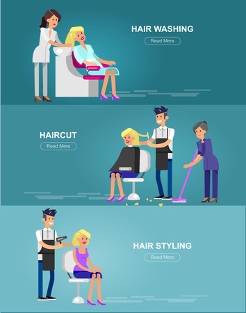 manicurist: Detailed character Barber makes a hair washing, cut and styling for glamorous girl, beautiful smiling blond woman. Web banner template  for beauty saloon Illustration