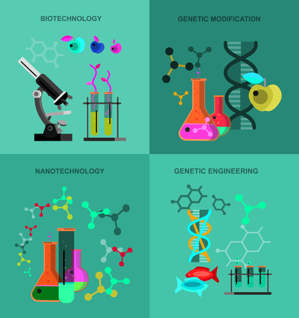 modification: Biotechnology science icons concept, composition of genetic engineering science, nanotechnology science and genetic modification science with microscope