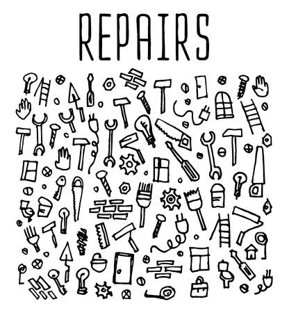 repairs: Hand drawn repairs construction tools seamless logo, repairs doodles elements, repairs seamless background. Repairs sketchy illustration