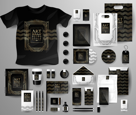 respectable: Abstract  business set in Art deco style . Corporate identity templates, notebook, card, flag, T-shirt, disk, package,  label, envelope, pen, Tablet PC
