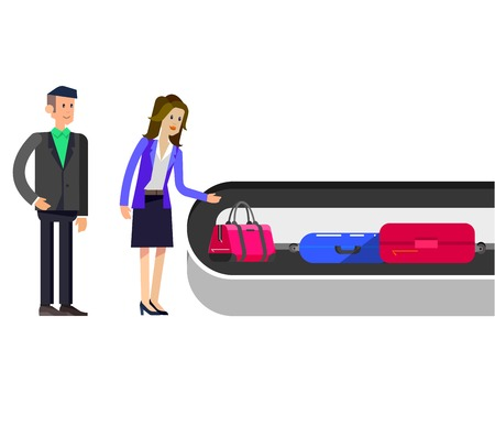 immigrant: Vector detailed characters people in airport lounge. Woman baggage claim, flat  illustration